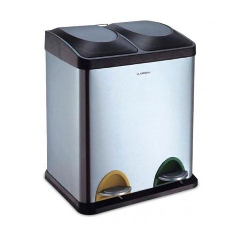 Cubo Basura Inox Reciclaje 2 Compartimentos 30lt