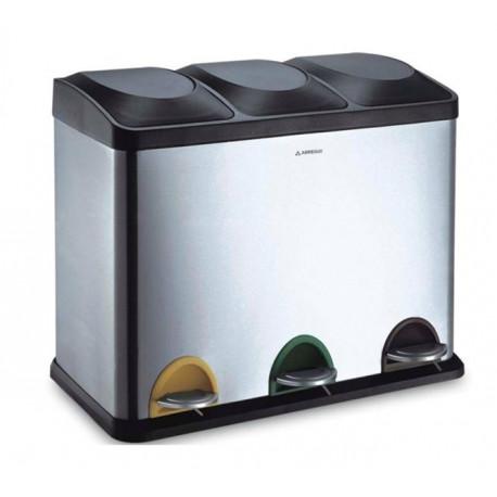 Cubo Basura Inox Reciclaje 3 Compartimentos 45lt