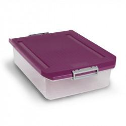 Caja Ordenacion Plast B.cama C/r 32lt 37x17,5x56,5 Morada
