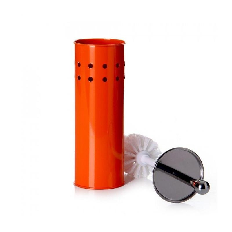 Comprar escobillero wc naranja 10 x 10 x 39 cm en for Accesorios bano naranja