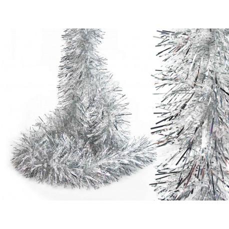 Adorno Navidad Boa Pelo Ancho Plata-nieve Juinsa 180x12 Cm
