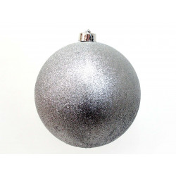 Adorno Navidad Bola Glitter Plata Juinsa 25 Cm