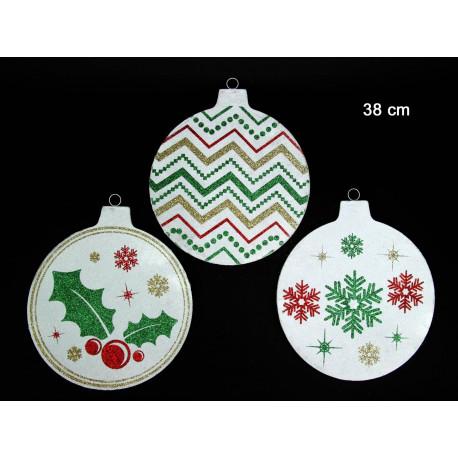 Adorno Navidad Colgante Circulo Blanco Juinsa 38 Cm