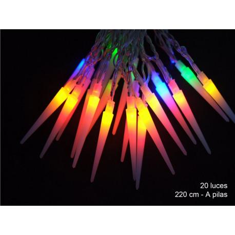 Luz Navidad Fija Led 20 Luces Cono Multicolor Juinsa