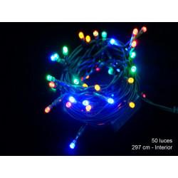 Luz Navidad Fija Led 50 Luces Multicolor Juinsa