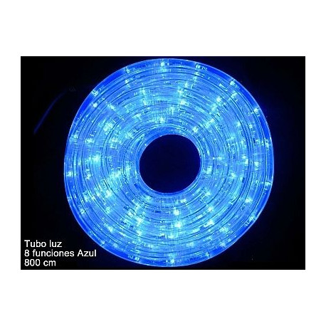Luz Navidad Tubo Led 8 Funciones Azul Juinsa 800 Cm