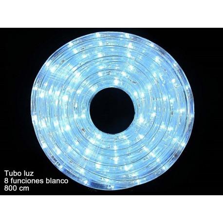 Luz Navidad Tubo Led 8 Funciones Blanco Juinsa 800 Cm