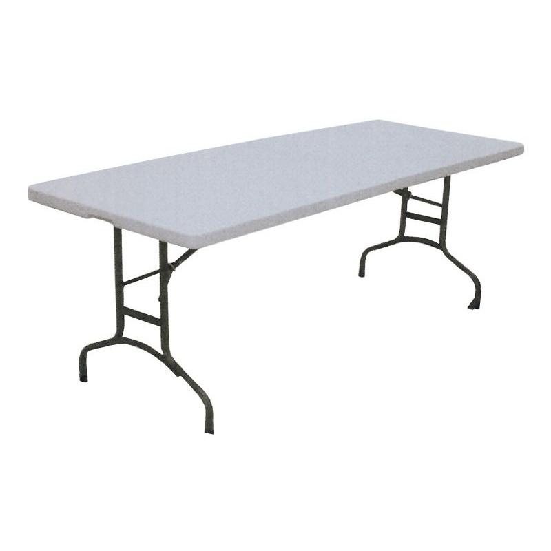 Comprar mesa plegable plastico acero 183x75x75cm en for Mesa plastico jardin