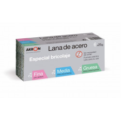 Lana Acero Pulir Surtido 6 Pz 25gr 2fina+2med+2gruesa Akron