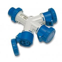 Adaptador Cetac 3 Tomas 2p+t 16a-220v 3 Tomas Azul Famatel