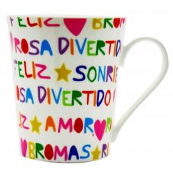Taza Desayuno C/asa 380ml Mug Letras Divert. Porcel Silicone