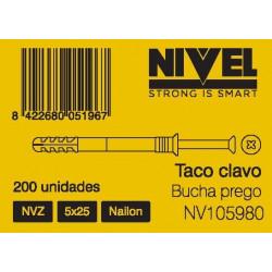 Taco Clavo 5x25 Nyl Nvz Nivel 200 Pz