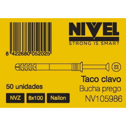Taco Clavo Nvz 8x100 50pz Nivel