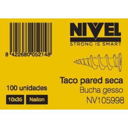 Taco  Pared Seca 10x35 100pz Nivel