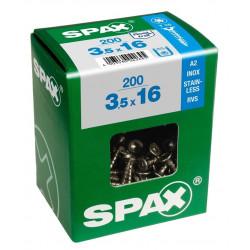 Tornillo R/mad. 04x050mm Inox C/plana Huella Torx Spax 75 Pz