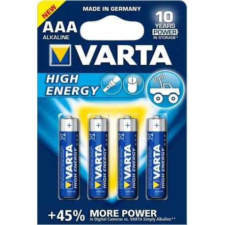 Pila Alcalina Lr03 Aaa 1,5v High Energy Varta 4 Pz
