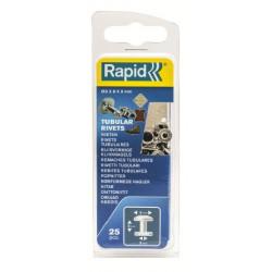 Remache Fij Textil-cuero 3x8x9mm Tubular Rapid 25 Pz