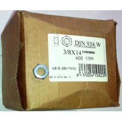 "Tuerca Hexagonal 934 M-14 3/8"" Wihworth Cinc Ugatu 600 Pz"