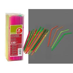 Pajita Desechable Flex 21cm Pl Neon 150 Pz