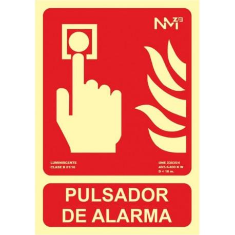 Cartel Señal 210x300mm Luminiscente Pvc Pulsador Alarma Norm
