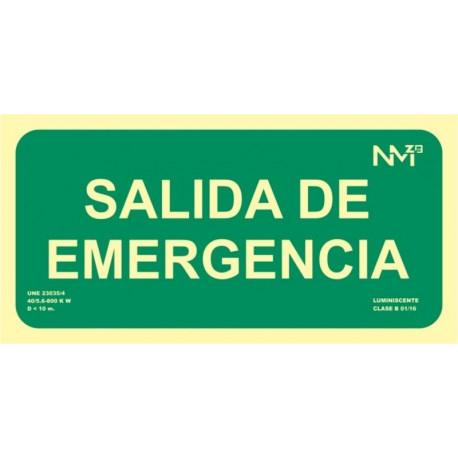 Cartel Señal 150x300mm Luminiscente Pvc Salida Emergencia No
