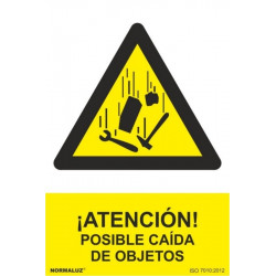 Cartel Señal 210x300mm Pvc ¡atencion! Posible Caida Objetos