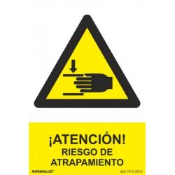 Cartel Señal 210x300mm Pvc ¡atencion! Riesgo De Atrapamiento