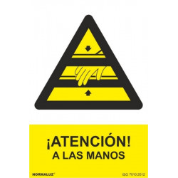 Cartel Señal 210x300mm Pvc ¡atencion! A Las Manos Normaluz