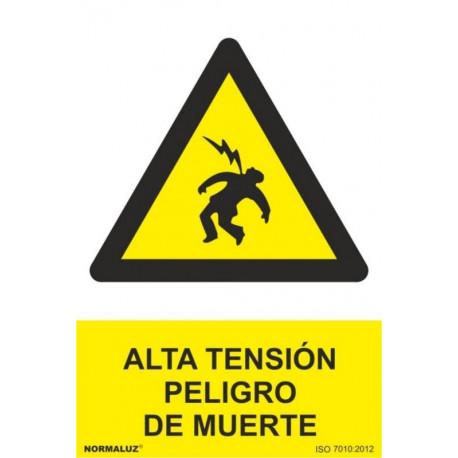 Cartel Señal 210x300mm Pvc Alta Tension Peligro De Muerte No