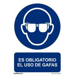 Cartel Señal 210x300mm Pvc Obliga Uso Gafas Normaluz