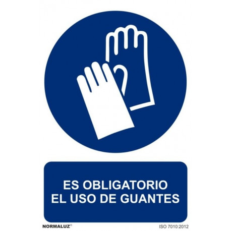 Cartel Señal 210x300mm Pvc Obliga Uso Guantes Normaluz