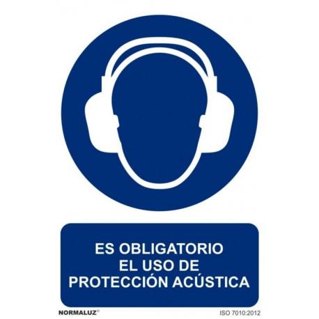 Cartel Señal 210x300mm Pvc Obliga Uso Prot Acust Normaluz