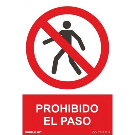Cartel Señal 210x300mm Pvc Prohibido El Paso Normaluz