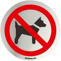Placa Señal 7cm Diam Autoadh In. Prohibido Perros Normaluz