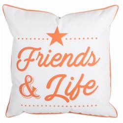 Cojin Decorativo 45x45x12cm Lkd Garden Naranja Blanco Friend