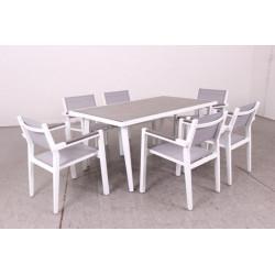 Mesa Jard 160x90x73cm Natuur Aluminio/cristal Bl Nt110419