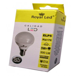 Lampara Ilumin Led Esf. E14 5w 500lm 3000k Royal Led
