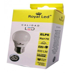 Lampara Ilumin Led Esf. E27 6w 600lm 3000k Royal Led