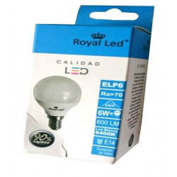Lampara Ilumin Led Esf. E14 6w 600lm 6400k Royal Led