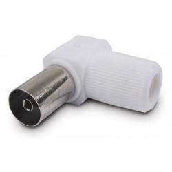 Conector Antena Coaxial Hembra Acodado 9,5mm Acero Plastico