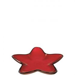 Bandeja Nav. Estrella Ro 23cm Vidrio Rosso Leonardo