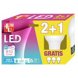 Lampara Ilumin Led Estan E27 9w 810lm 3000k 2+1 4u 3 Pz