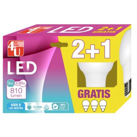 Lampara Ilumin Led Estan E27 9w 810lm 3000k 2+1 4u 3 Pz