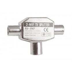 Distribuidor Antena Coaxial 2 Hembras 1 Macho Tri Met. Elect