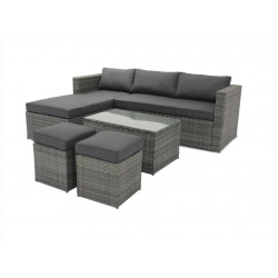 Mueble Jard Natuur Ratan Antr.. Sofa Lounge 2 Taburetes Mesa