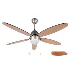 Ventilador Techo 132cm Con Luz 60w-3v 5 Aspas Palas Reversib