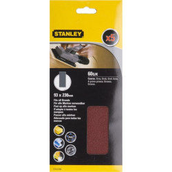 Hoja Lija Orbital No Perforadas 093x230mm Gr60 Stanley 5 Pz