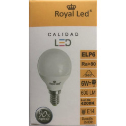 Lampara Ilumin Led Esf. E14 6w 600lm  4200k Royal Led