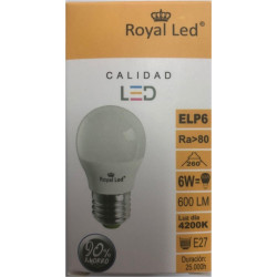 Lampara Ilumin Led Esf. E27 6w 600lm  4200k Royal Led
