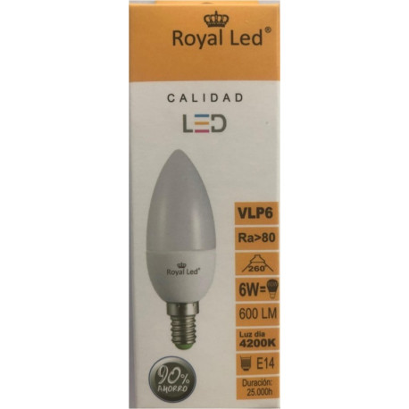 Lampara Ilumin Led Vela E14 6w 600lm  4200k Royal Led
